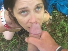Strangers CUM on my face OUTDOORS Thumb