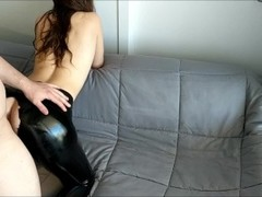 Step Brother Abuse & Rips Sister's Leather Pants Cums On Her Big Oily Ass Thumb