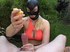 Outdoor Bondage Femdom Handjob Cumshot with Vibrator and Sponges - UNIQUE Thumb