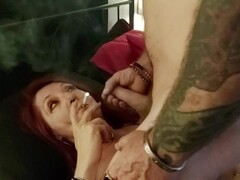 Homemade MILF smoking cock worship + facial cumshot Thumb